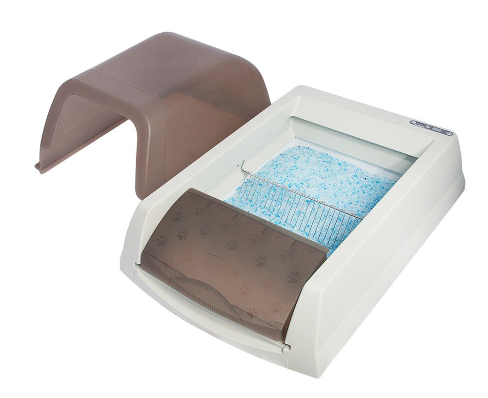 self clean litter box with hood